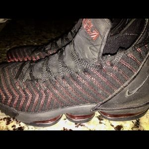 Nike LeBron XVI Basketball Shoe Woven Black Red
